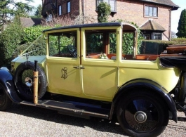 Vintage yellow Rolls Royce for weddings in Croydon